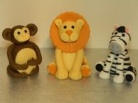 Lion, Zebra & Monkey Cake Toppers